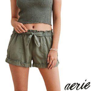 Aerie Green Paperbag Waist Shorts